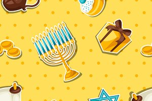 Hanukkah seamless patterns.