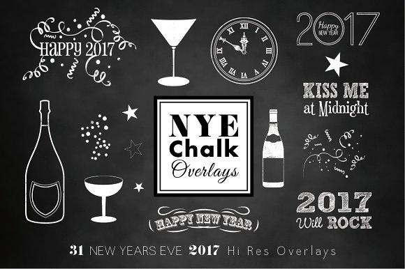 new years 2017 chalk overlays illustrations