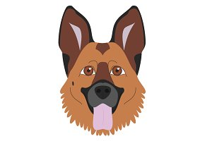 German Sheperd Vector Illustration