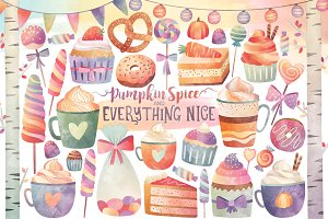 Watercolor Sweets & Treats Clipart