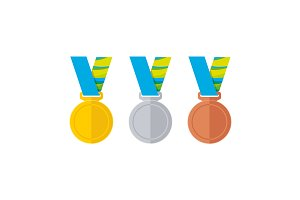 Flat style medals set