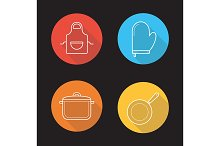 Kitchen tools. 4 icons. Vector