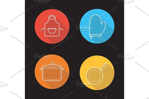 Kitchen tools. 4 icons. Vector - Icons
