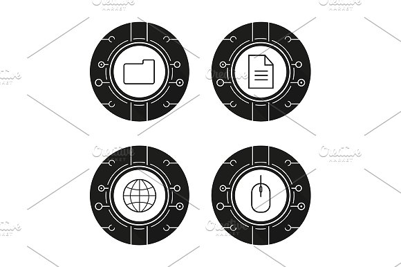 Cyber technology. 4 icons. Vector - Icons