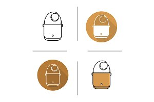 Shoulder bag. 4 icons. Vector
