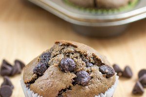 Chocolate chocolate chip muffin