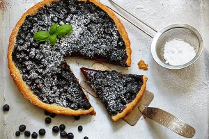 Homemade tart with  blueberries