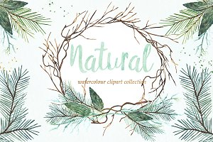 Natural winter. Watercolor clipart.
