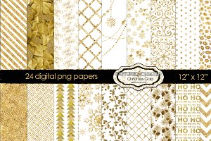 24 Christmas Gold Patterned Papers