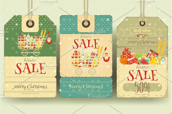 Christmas Supermarket Sale Tags in Illustrations