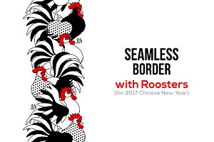Seamless border with Roosters