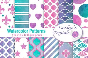 Watercolor Digital Paper Patterns