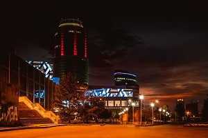 lights and buildings of the city at night in the summer. Ekaterinburg center.