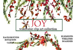 Watercolor Christmas Floral Set