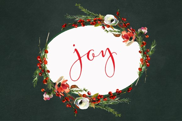 Watercolor Christmas Floral Set - Illustrations - 7