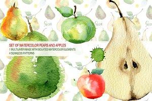 Watercolor Set of pears & apples