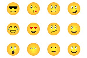 Emoji icons. Emoticon faces.