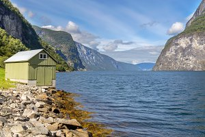Fjord and Hut in Norway