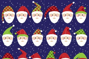 Santa Claus Faces Clipart & Vectors