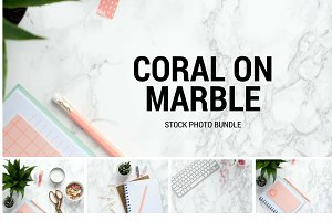 Coral on Marble Stock Photo Bundle