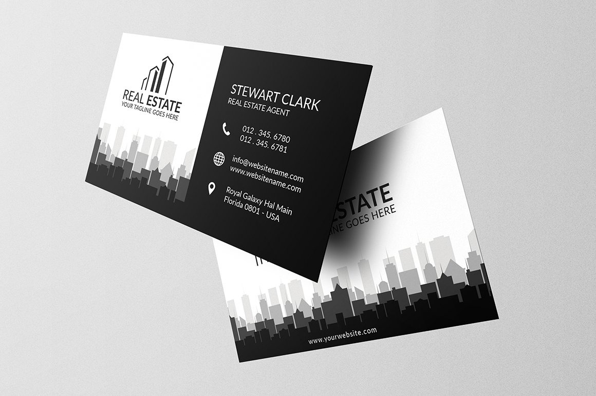 Real estate business card template business card templates real estate business card template business card templates creative market wajeb Choice Image
