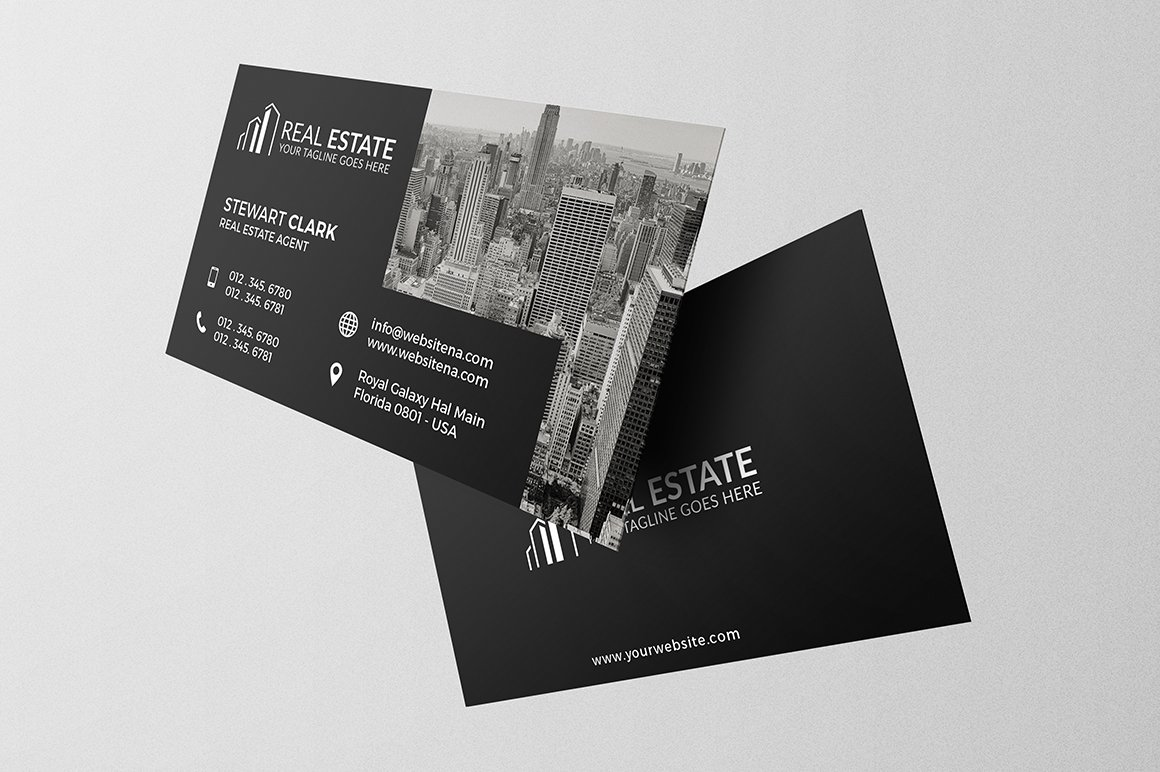 Real estate business card business card templates creative market accmission Gallery