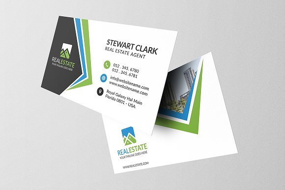Real Estate Business Card Business Card Templates Creative Market - Real estate business cards templates free