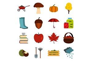 Autumn icons set, flat ctyle