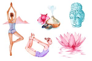 Harmony watercolor clipart set