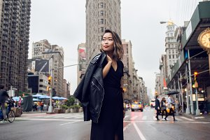 Beautiful woman walk in New York