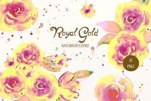 Watercolor Clipart Royal Gold