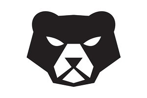 American Black Bear Head Retro