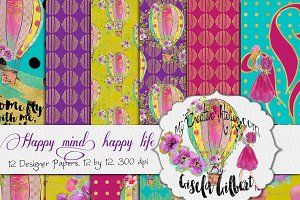 Happy life. Digital papers