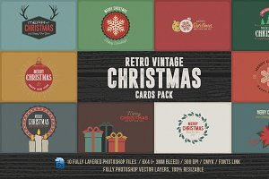 Retro/Vintage Christmas Cards Pack