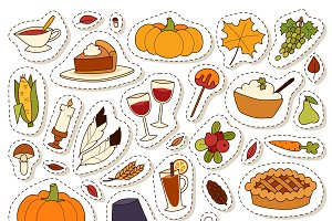 Thanksgiving day vector set