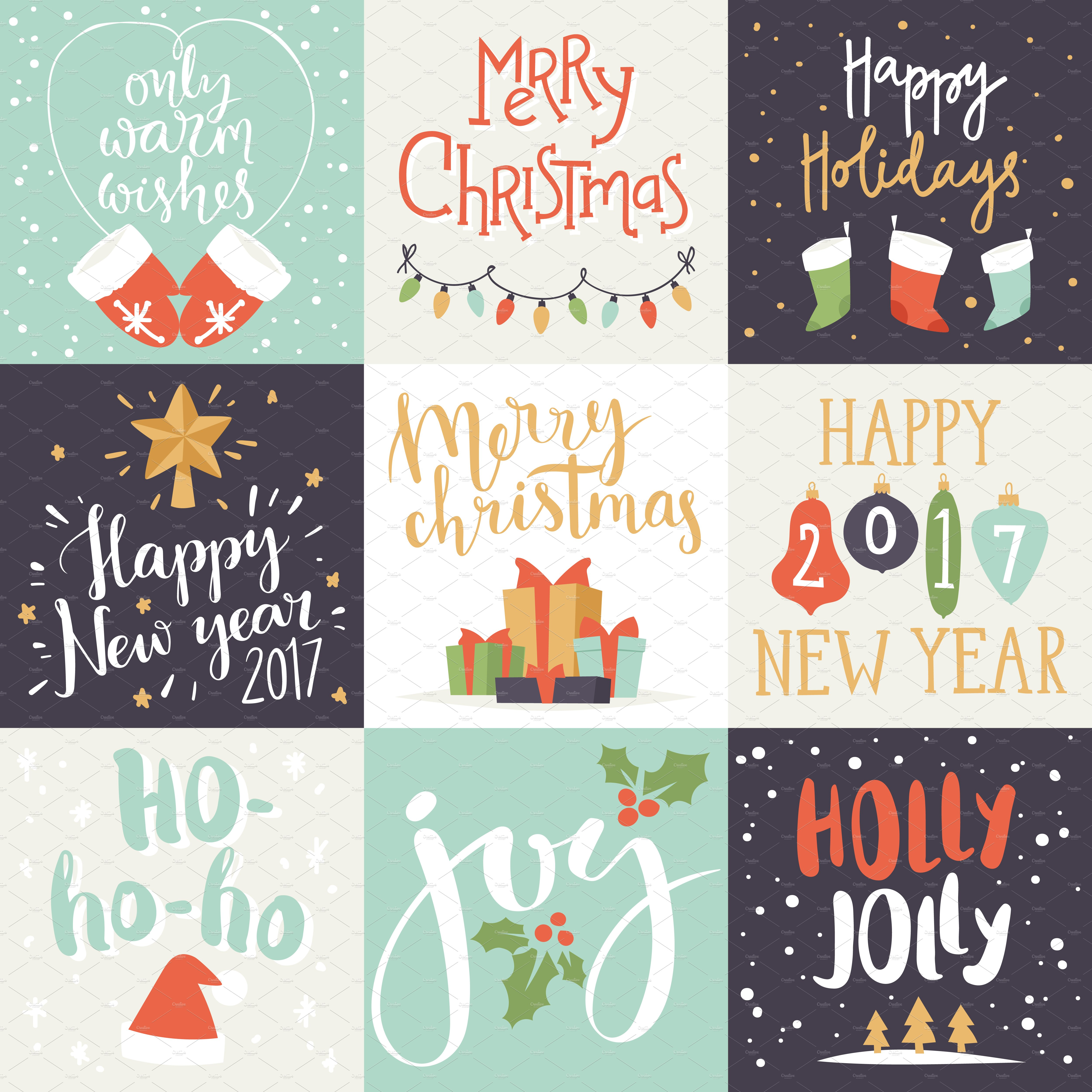 merry christmas invitation card set illustrations creative market