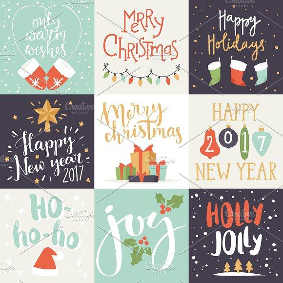 merry christmas invitation card set illustrations