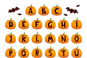 Halloween font alphabet vector set