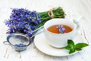Cup of tea and lavender flowers