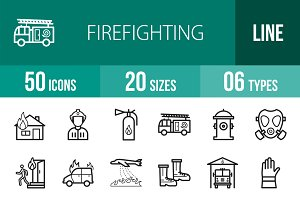 50 Firefighting Line Icons