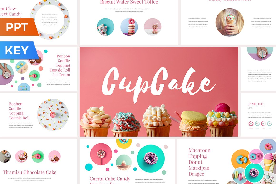 cupcake presentation template presentation templates creative market. Black Bedroom Furniture Sets. Home Design Ideas