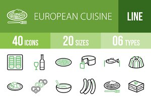 40 Cuisine Line Green & Black Icons