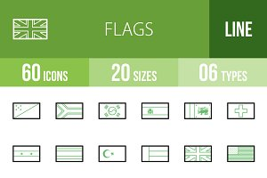 60 Flags Line Green & Black Icons