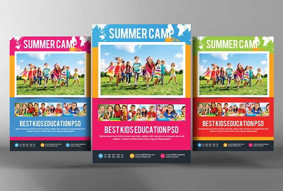 kids summer camp flyer template flyer templates on creative market. Black Bedroom Furniture Sets. Home Design Ideas