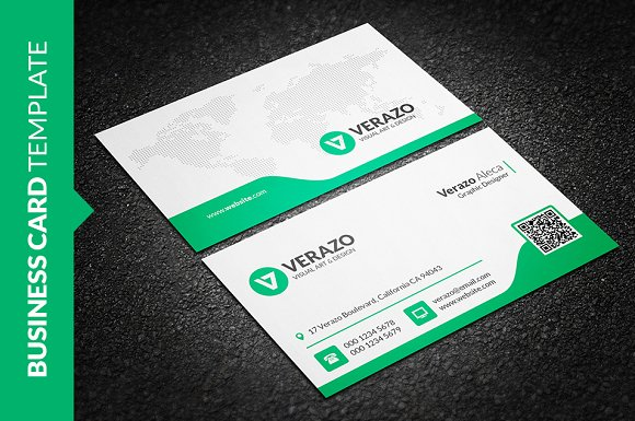Clean green business card business card templates creative market friedricerecipe Images
