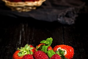Red and fresh strawberries