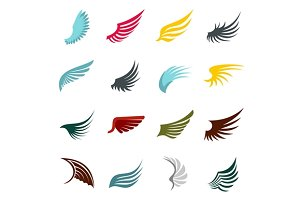 Wing icons set, flat ctyle