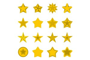 Star icons set, flat ctyle