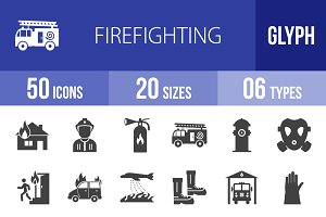 50 Firefighting Glyph Icons