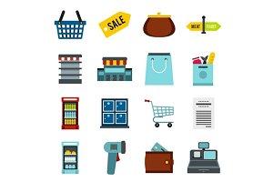 Supermarket icons set, flat ctyle